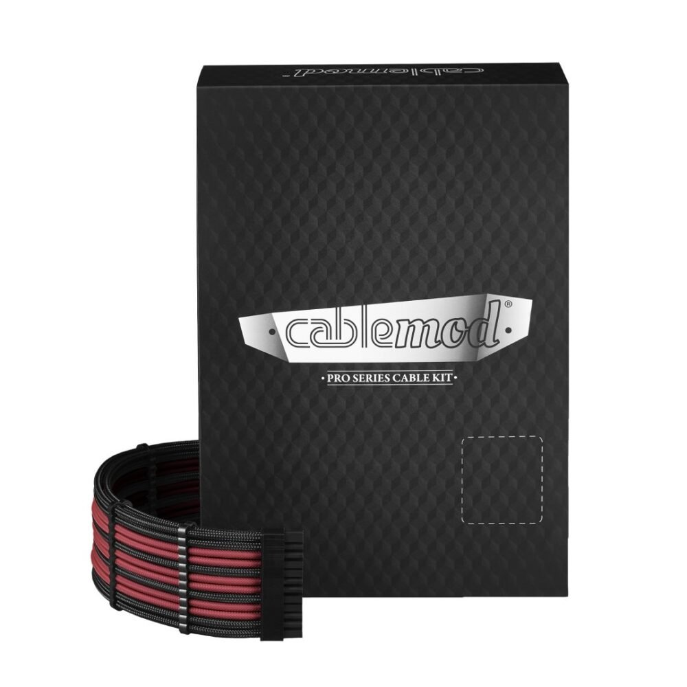 CableMod E-Series PRO ModMesh Cable Kit for EVGA G5 / G3 / G2 / P2 / T2 - BLACK / BLOOD RED