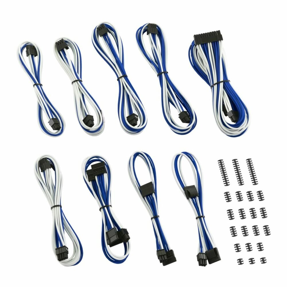 CableMod C-Series ModMesh Classic Cable Kit for Corsair RM (Black Label) / RMi / RMx - WHITE / BLUE
