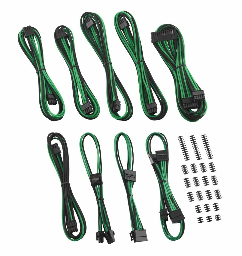 CableMod Classic ModFlex E-Series Cable Kit for EVGA G5 / G3 / G2 / P2 / T2 - BLACK / GREEN