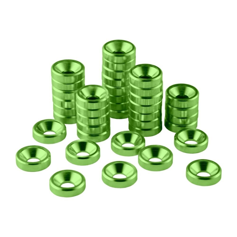 CableMod Anodized Aluminum Washers - M3.5 40 Pack - GREEN