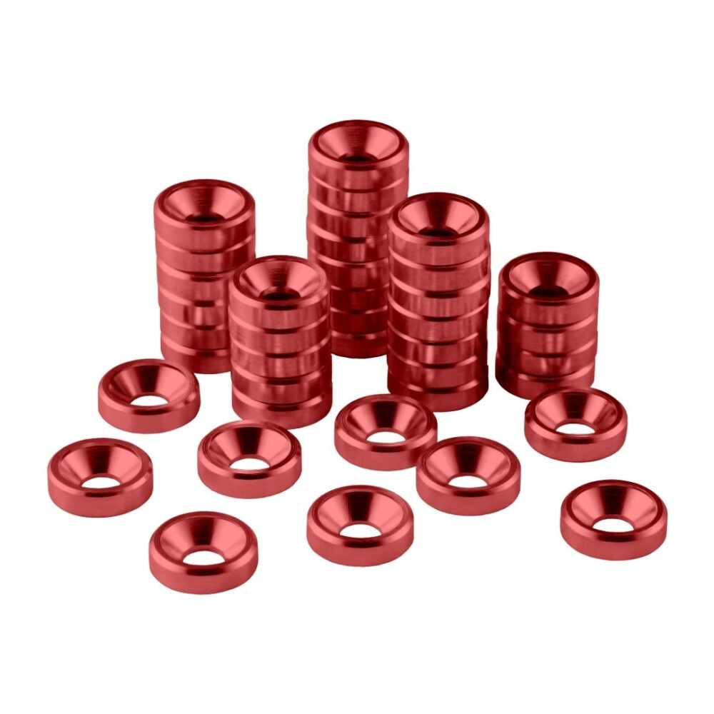CableMod Anodized Aluminum Washers - M3.5 40 Pack - RED