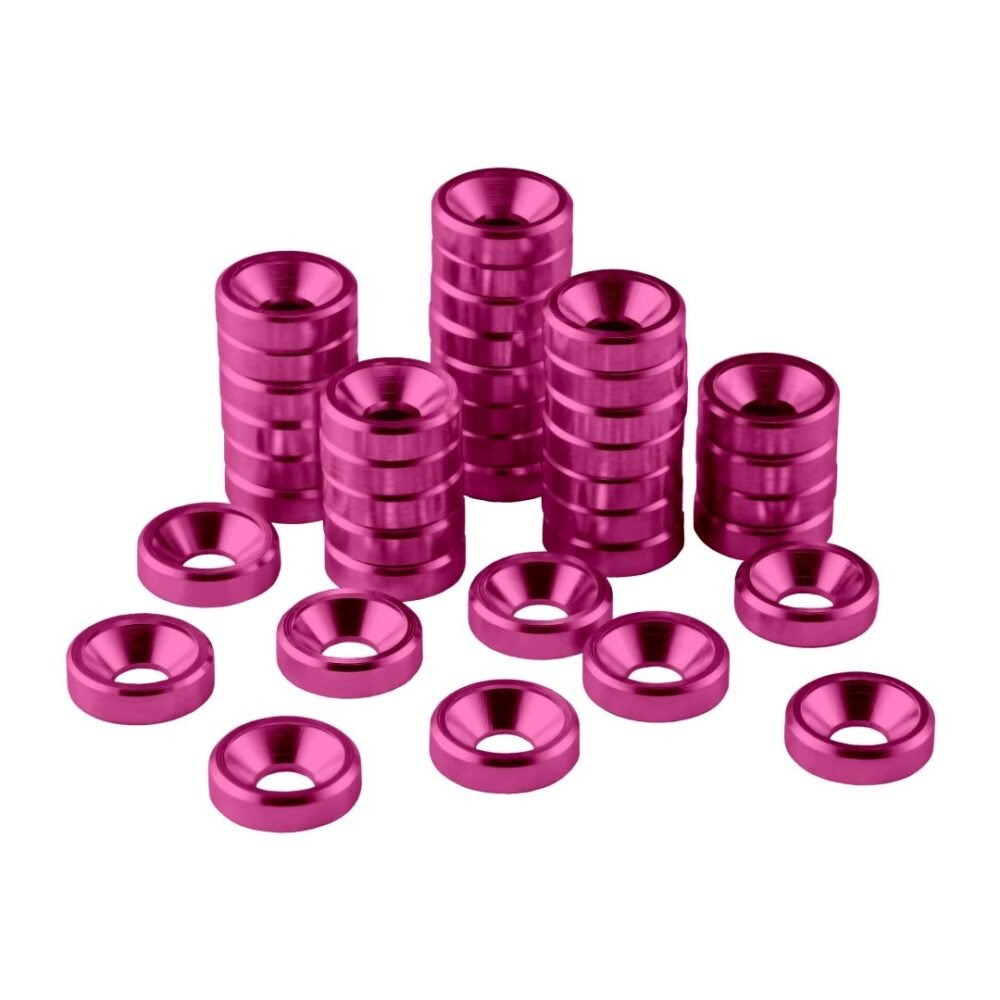 CableMod Anodized Aluminum Washers - M4 40 Pack - PINK