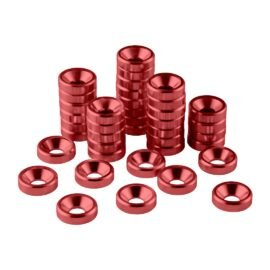 CableMod Anodized Aluminum Washers - M4 40 Pack - RED